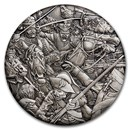 2018 Tuvalu 2 oz Silver Hussars Warfare BU (HR, Antiqued)